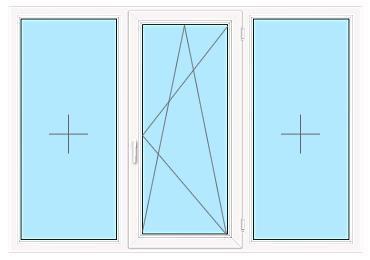 Трёхстворчатое окно с двумя глухими створками