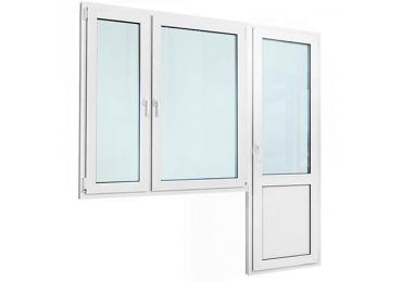Балконный блок с двустворчатым окном и дверью с сэндвич-панелью