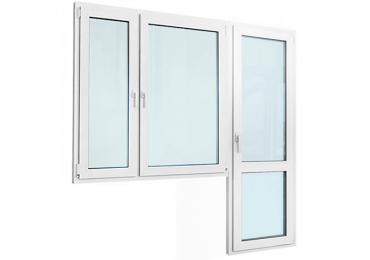 Балконный блок с двустворчатым окном и стеклянной дверью с перемычкой