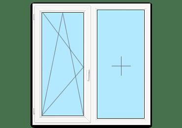 Двухстворчатое окно с глухой створкой
