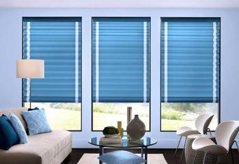 Римские шторы голубого цвета